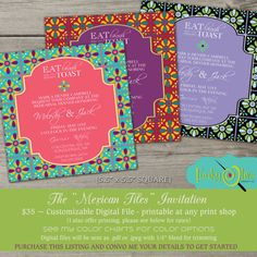 Mexican Tiles Fiesta Fun Bold Wedding Invitation by TheFunkyOlive