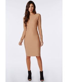 Open Back Zip Detail Midi Dress Camel - Dresses - Midi Dresses - Missguided