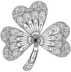 mendhika shamrock make st patricks day extra pretty with this patterned shamrock design - Shamrock Coloring Pages