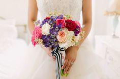 Bright colorful unique bridal bouquet pink purple blush white Whim Florals | Pink Parasol Designs | The Frosted Petticoat