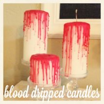 Zombie Themed Wedding Decor. Blood Dripped Candles by Teri Boyungs