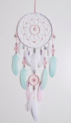 Large Pink Mint Dream Catcher Bohemian by MagicalSweetDreams
