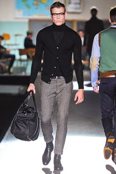 Dsquared² - Layered black with grey slacks
