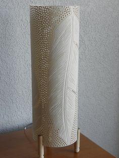 by GlowingArt - DIY, could use a Dremel to make holes and etch feathers Pvc Pipe Crafts, Pvc Pipe Projects, Dremel Projects, Small Woodworking Projects, Diy Deco Rangement, Different Light Bulbs, Home Crafts, Diy And Crafts, Lamp Design