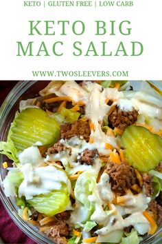 Keto Big Mac Salad Low Carb Hamburger Salad Big Mac Salad yummy Everyone loved it Definitely making the sauce for burgers Kids even loved it Didn t change anything-April Low Carb Fast Food, Low Carb Diets, Low Carb Lunch, Low Fat Meals, Low Carb Burger, Keto Burger, Low Sugar Dinners, Low Calorie Meals, High Fat Keto Foods