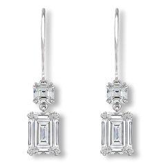 Lana Asscher & Emerald Cut CZ Dangle Leverback Eurowire Earrings - Mystique of Palm Beach Emerald Earrings, Stud Earrings, Thing 1, Wedding Earrings, Bridal Jewelry, Diamond Jewelry, Jewelry Collection, Diamond Cuts, Swarovski Crystals