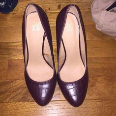 Burgundy heels Burgundy Python textured pumps from New York and Company. Only worn once for an interview. Approx 4 inch heel and 1/4inch platform.   *****PRICE NOW FIRM UNLESS BUNDLED***** New York & Company Shoes Heels