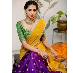 New wedding dresses bridesmaid yellow brides 59 ideas Lehenga Saree Design, Half Saree Lehenga, Lehenga Designs, Saree Blouse Designs, Sari, Blouse Patterns, Anarkali, Lehenga Blouse, Dress Designs