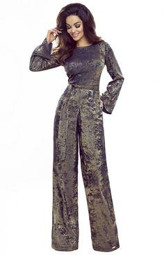 BERGAMO Wieczorowy połyskujący kombinezon złoto granatowy Jumpsuit, Dresses, Fashion, Overalls, Vestidos, Moda, Fashion Styles, Jumpsuits, Catsuit