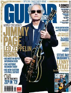 Jimmy Page photographed (by Ross Halfin) at The Worx studios, in London, for Guitar World magazine (2007).