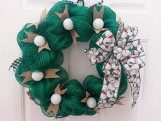 REDUCED TO MAKE ROOM FOR UPCOMING FALL STOCK! THIS WREATH IS READY AND AVAILABLE TO SHIP IMMEDIATELY! This wreath is perfect for the golf lover!