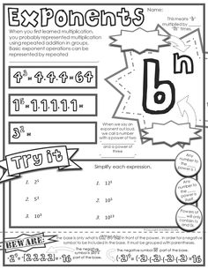 "FREE ""doodle note"" sheet for - grade math - Basics of Exponents Math Teacher, Math Classroom, Teaching Math, Math Math, Multiplication, Maths, Math Fractions, Classroom Ideas, Kids Math"
