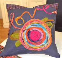 So beautiful with recycled sari ribbon! Carrie Bloomston-Love pillow ~ Quilting Daily show 1403