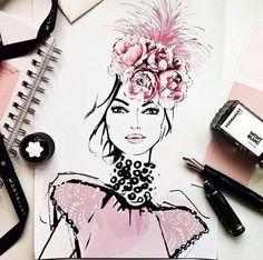 Bild über We Heart It https://weheartit.com/entry/122021975/via/23847183 #art #creative #drawing #drawings #draws #fashion #fashionillustration #illustration #painting #pink #model