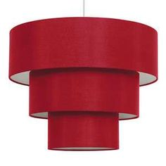 Modern Red Faux Silk Fabric 3 Tier Ceiling Light Shade Pendant ...