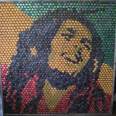 Bob Marley bottle cap art. Irie. Diy Bottle Cap Crafts, Beer Cap Crafts, Bottle Cap Projects, Bottle Top Art, Bottle Cap Table, Bottle Caps, Bob Marley Kunst, Bob Marley Art, Beer Cap Art
