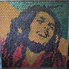 Bob Marley bottle cap art. Irie.