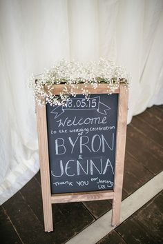 Welcome Sign Black Chalk Board Scottish Beach Wedding http://www.kat-hill.com/