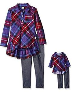 online shopping for Dollie & Me Girls' Plaid Ruffle Tunic Knit Denim Legging from top store. See new offer for Dollie & Me Girls' Plaid Ruffle Tunic Knit Denim Legging Denim Leggings, Dresses With Leggings, Leggings Fashion, Girls Dress Up, Girls Sweaters, Girls Jeans, Outfit Sets, My Girl, Ruffles