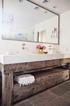 reclaimed wood hand made bathroom unit