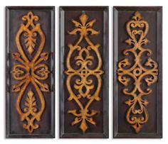 Wood And Metal Wall Panels uttermost alexia wall panels, set/2 | helping in laws with decor