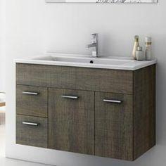 Modern 32 inch Loren Vanity Set with Ceramic Sink - Larch Canapa | Zuri…