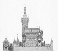 Architectural drawings - Design for a castle, Germany
