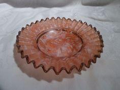 Antique Small Brides Basket, Art Glass Bowl, Hand-Made, Crimped Rim, Pink | Pottery & Glass, Glass, Art Glass | eBay!