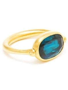 MARIE HELENE DE TAILLAC - 22k Gold and Blue Tourmaline Swivel Ring 8 by marguerite