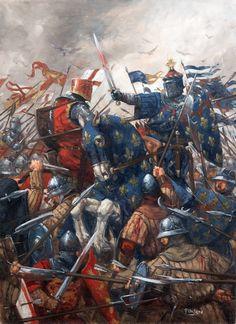 Lámina de Hugo Pinson, mostrándonos un desconocido combate entre franceses e ingleses... Ese escudo sí lo reconozco, es el de Artois... Más en www.elgrancapitan.org/foro