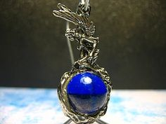 Pewter Charm & Colored Glass Orb Keychain by mysticblue74 on Etsy, $8.00