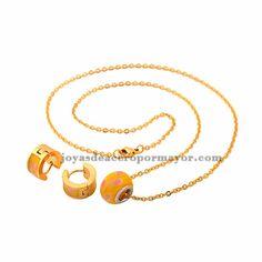 juego de joyas de Collar de dije de abalorios y con huggies en color amarillo en acero inoxidable por mujeres -SSNEG381398