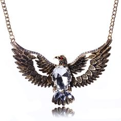 Korean Style Owl Pattern with Diamond Pendant Necklace