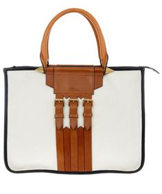 Alexander McQueen/Liberty Ivory Canvas Spike Tote