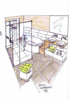 Originele oplossing in een smalle badkamer in den haag
