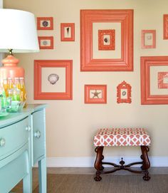 Use color daringly, like designer @Tobi Fairley did here with a collection of citrus-y frames.     #decorating #color
