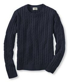 #LLBean: Double L Cotton Sweater, Long-Sleeve Cable Crewneck