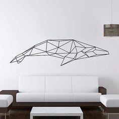 Trasporto libero Del Vinile Geometrica Whale Wall Sticker Geometria Serie Animale 3D Decalcomanie Del Vinile Wall Art decorazione domestica X193(China (Mainland))