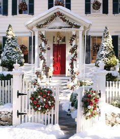 Christmas Outdoor Ornament Pine Wreath and Garland. Via Pottery Barn.