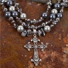 Pearls & Crystals Cross Jewelry