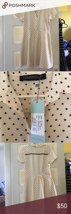 Modcloth Sugarhill Boutique heart print shirtdress Brand new with tag adorable shirtdress by Sugarhill Boutique. Heart print. UK 10, US 4 sugarhill boutique Dresses