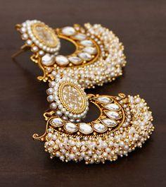 Pearl Embellished Traditional Indian Bali #Earrings ~