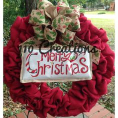 Red Christmas Burlap Wreath by 110Creations on Etsy, $55.00