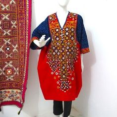 Indian dress, hand embroidered from red Indian cotton - Madame Hall