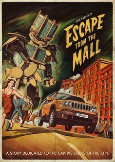 Anúncios de jornal da Jeep com ilustras de filmes retrô