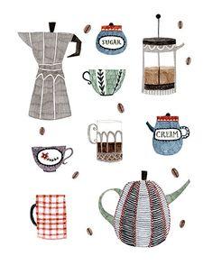 Coffee and Tea Art Print by Abigail Halpin - X-Small Coffee Illustration, Illustration Art, Tee Kunst, Tea Art, Coffee Art, Coffee Drawing, Drink Coffee, Kitchen Art, Illustrations And Posters
