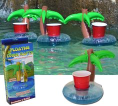 Palm Tree Drink Rafts.  We need these for your pool