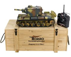 RC Tank KV-2 1:16 Metal-Version IR Combat-System Gunrecoil PRO-Edition 2.4 GHz Torro incl. Ammunition-Box Remote Control Boat, Rc Remote, Radio Control, Torsion Bar Suspension, Rc Tank, Air Brush Painting, Metal Gear, Panzer, Wooden Boxes