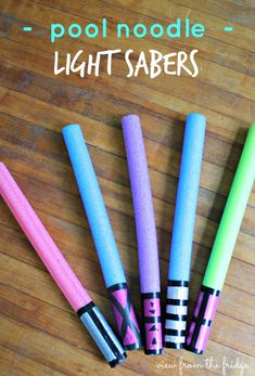 Easy DIY Pool Noodle Lightsabers  |  View From The Fridge