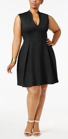 Soprano Trendy Plus Size Pleated Fit & Flare Dress.the perfect little black dress Plus Size Black Dresses, Dress Plus Size, Plus Size Outfits, Plus Dresses, Moda Plus Size, Trendy Plus Size, Plus Size Fashion For Women, Plus Size Women, Modelos Plus Size